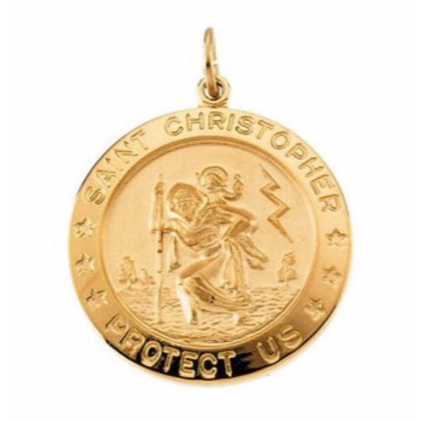 Yellow Gold Filled St. Christopher Medal (25 MM)