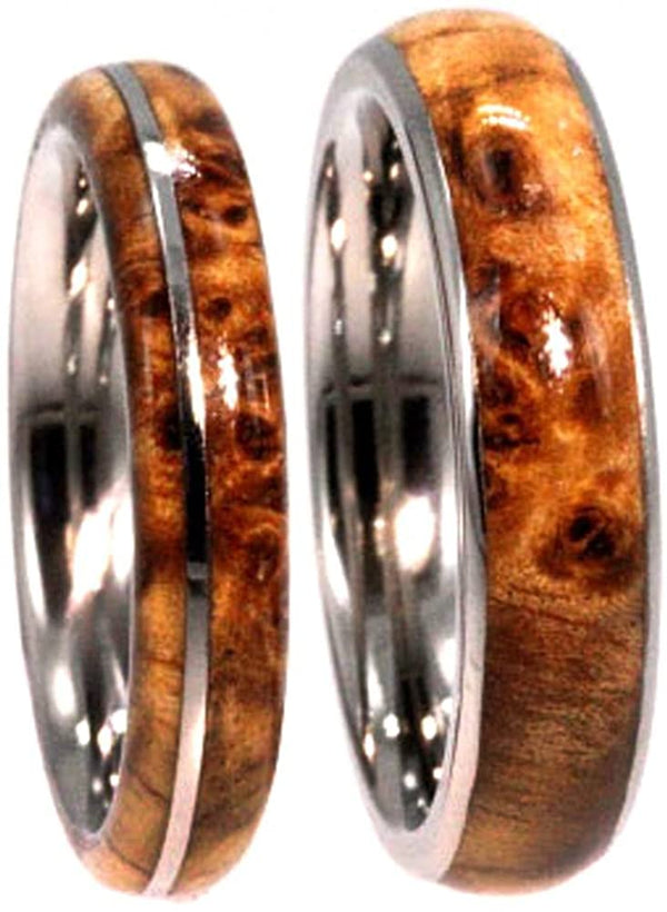 Black Ash Burl, Titanium Pinstripe Ring, His and Hers Wedding Band Set, M8-F9