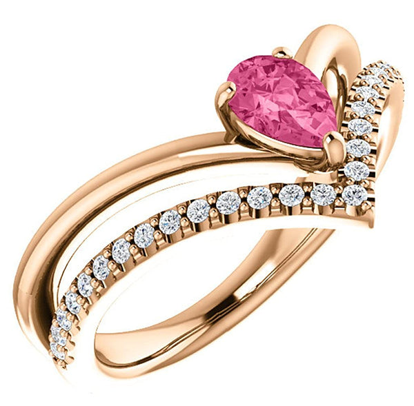 Pink Tourmaline Pear and Diamond Chevron 14k Rose Gold Ring (.145 Ctw, G-H Color, I1 Clarity), Size 7