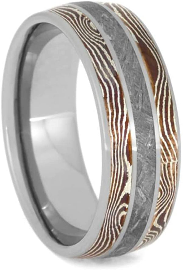 The Men's Jewelry Store (Unisex Jewelry) Gibeon Meteorite, Copper and Silver Mokume Gane 8mm Titanium Comfort-Fit Wedding Band, Size 15.5