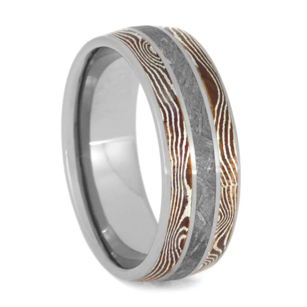 The Men's Jewelry Store (Unisex Jewelry) Gibeon Meteorite, Copper and Silver Mokume Gane 8mm Titanium Comfort-Fit Wedding Band