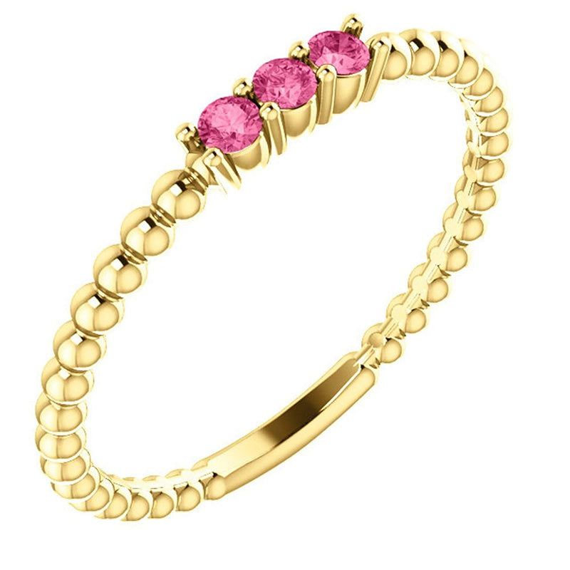 Pink Tourmaline Beaded Ring, 14k Yellow Gold, Size 7.5