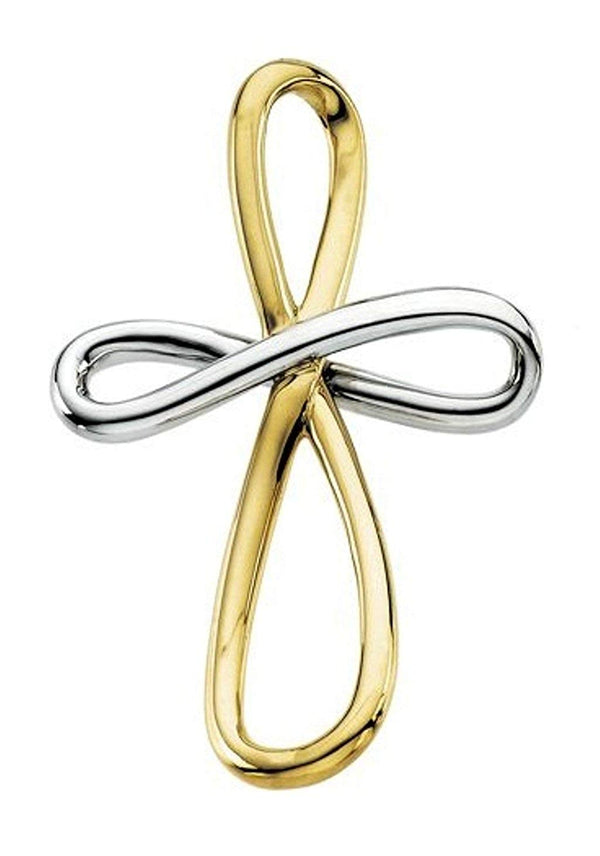 Two-Tone Infinity Cross Rhodium-Plated 14k Yellow and White Gold Pendant (39X26.25 MM)
