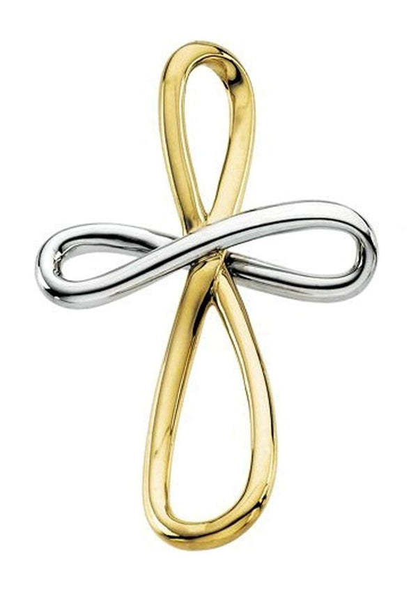 Two-Tone Infinity Cross 14k Yellow Gold and Sterling Silver Pendant (39X26.25 MM)