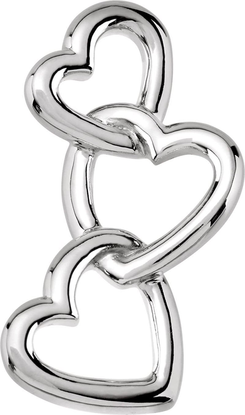 Linked Hearts Pendant, Rhodium-Plated 14k White Gold