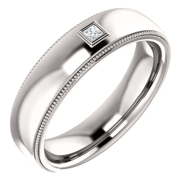 Men's Rhodium-Plated 14k White Gold Diamond 6mm Milgrain Band (.05 Ctw, Color G-H, SI2-SI3 Clarity) Size 12