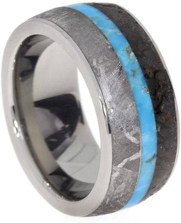 The Men's Jewelry Store (Unisex Jewelry) Turquoise, Dinosaur Bone, Gibeon Meteorite 9mm Comfort Fit Titanium Band