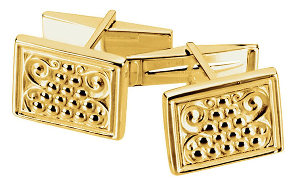 14k Yellow Gold Etruscan Style Granulated Bead Rectangle Cuff Links, 13.5x17MM