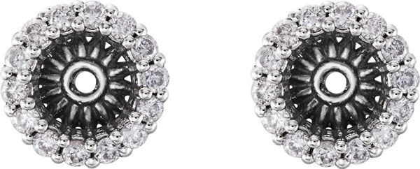 Diamond Cluster Earring Jackets, Rhodium-Plated 14k White Gold (4.1MM) (0.16 Ctw, G-H Color, I2 Clarity)