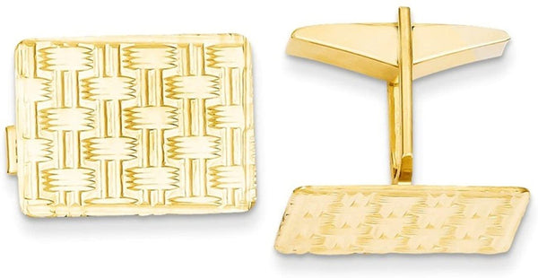 14k Yellow Gold Polished Rectangle Cuff Links, 19X14MM
