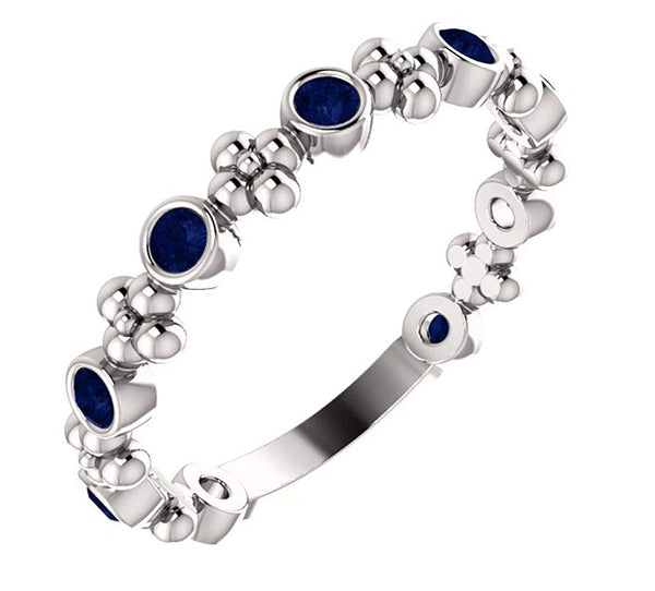 Platinum Chatham Created Blue Sapphire Beaded Ring