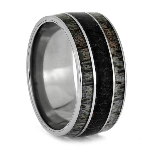 The Men's Jewelry Store (Unisex Jewelry) Deer Antler, Dinosaur Bone 10mm Titanium Comfort-Fit Wedding Band