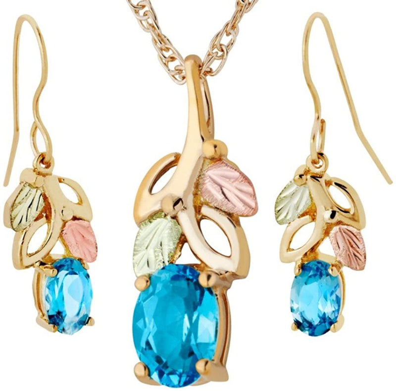 Blue Topaz Earrings and Pendant Necklace Set, 10k Yellow Gold, 12k Green and Rose Gold Black Hills Gold Motif, 18""