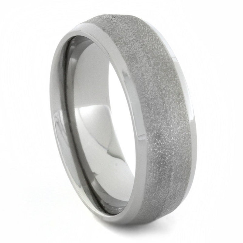 Knife Edge Frosted Titanium 7mm Comfort-Fit Titanium Band