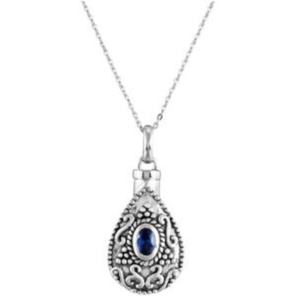 Blue CZ Teardrop Ash Holder Necklace, Rhodium Plate Sterling Silver, 18""