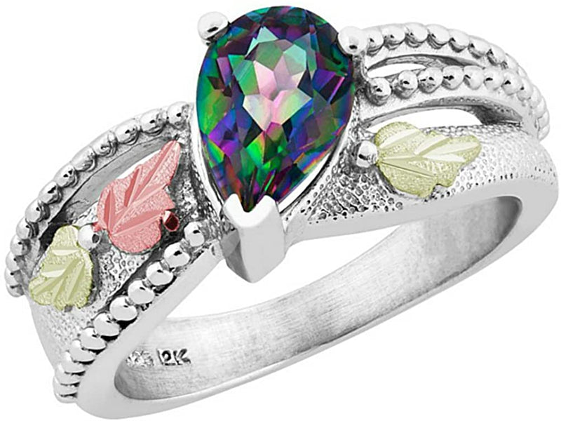 Pear Mystic Fire Topaz Granulated Bead Ring, Sterling Silver, 12k Green and Rose Gold Black Hills Gold Motif, Size 8