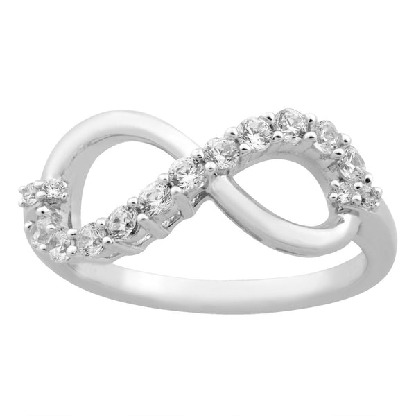Infinity CZ Rhodium Plated Sterling Silver Ring