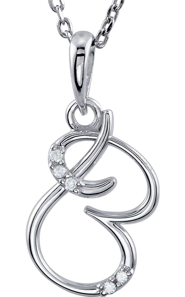 "5-Stone Diamond Letter 'B' Initial Sterling Silver Pendant Necklace, 18"" (.03 Cttw, GH, I2)"