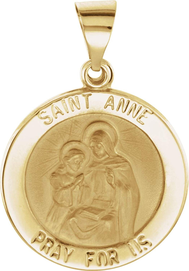 14k Yellow Gold Round Hollow St. Anne Medal (15 MM)