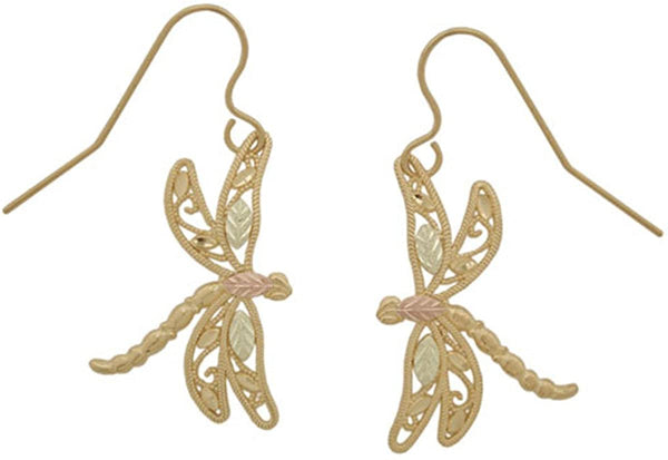 10k Yellow Gold Dragonfly Filigree Earrings, 12k Green Gold, 12k Rose Gold Black Hills Gold
