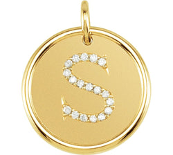"Diamond Initial ""S"" Round Pendant, 18k Yellow Gold-Plated Sterling Silver (0.1 Ctw, Color GH, Clarity I1)"