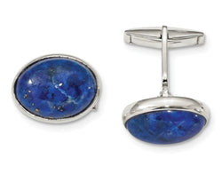 Sterling Silver Cabochon Lapis Cuff Links, 29X19.5MM