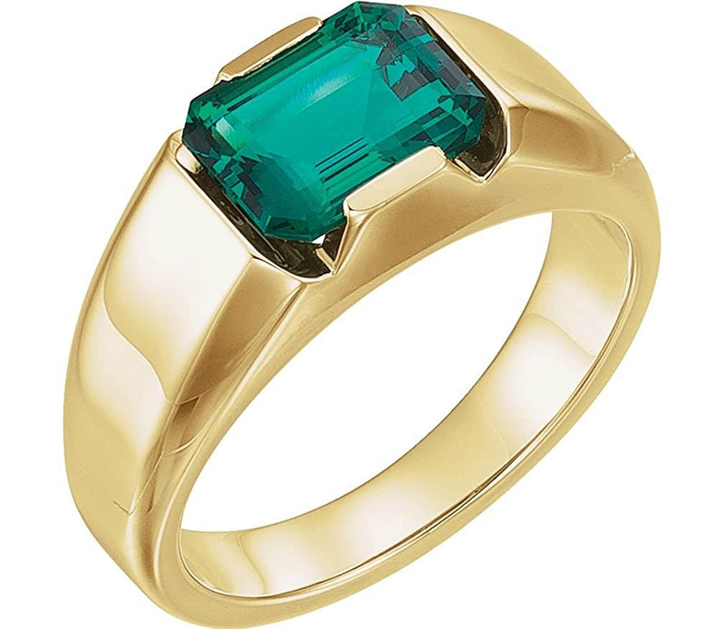 Men's Chatham Created Emerald 3 Ct. Ring, 14k Yellow Gold
