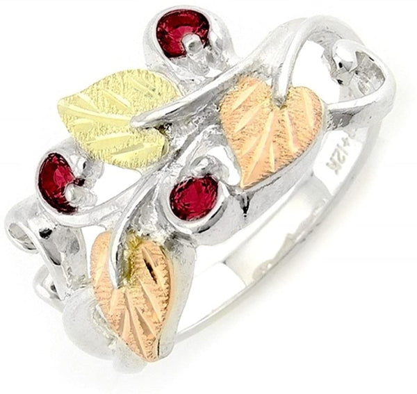 Lab Created Ruby July Birthstone Ring, Sterling Silver, 12k Green and Rose Gold Black Hills Gold Motif, Size 9.25