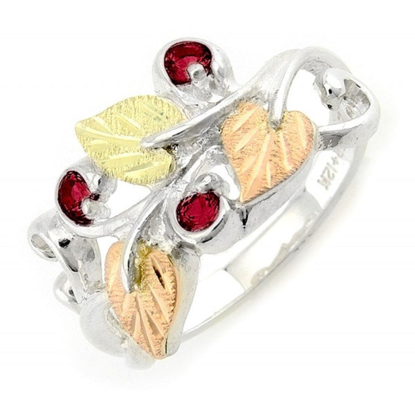 Lab Created Ruby July Birthstone Ring, Sterling Silver, 12k Green and Rose Gold Black Hills Gold Motif, Size 10
