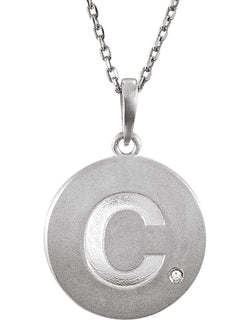 "Diamond Letter 'C' Initial Sterling Silver Pendant Necklace, 18"" (.005 Ct, GH Color, I2 Clarity)"