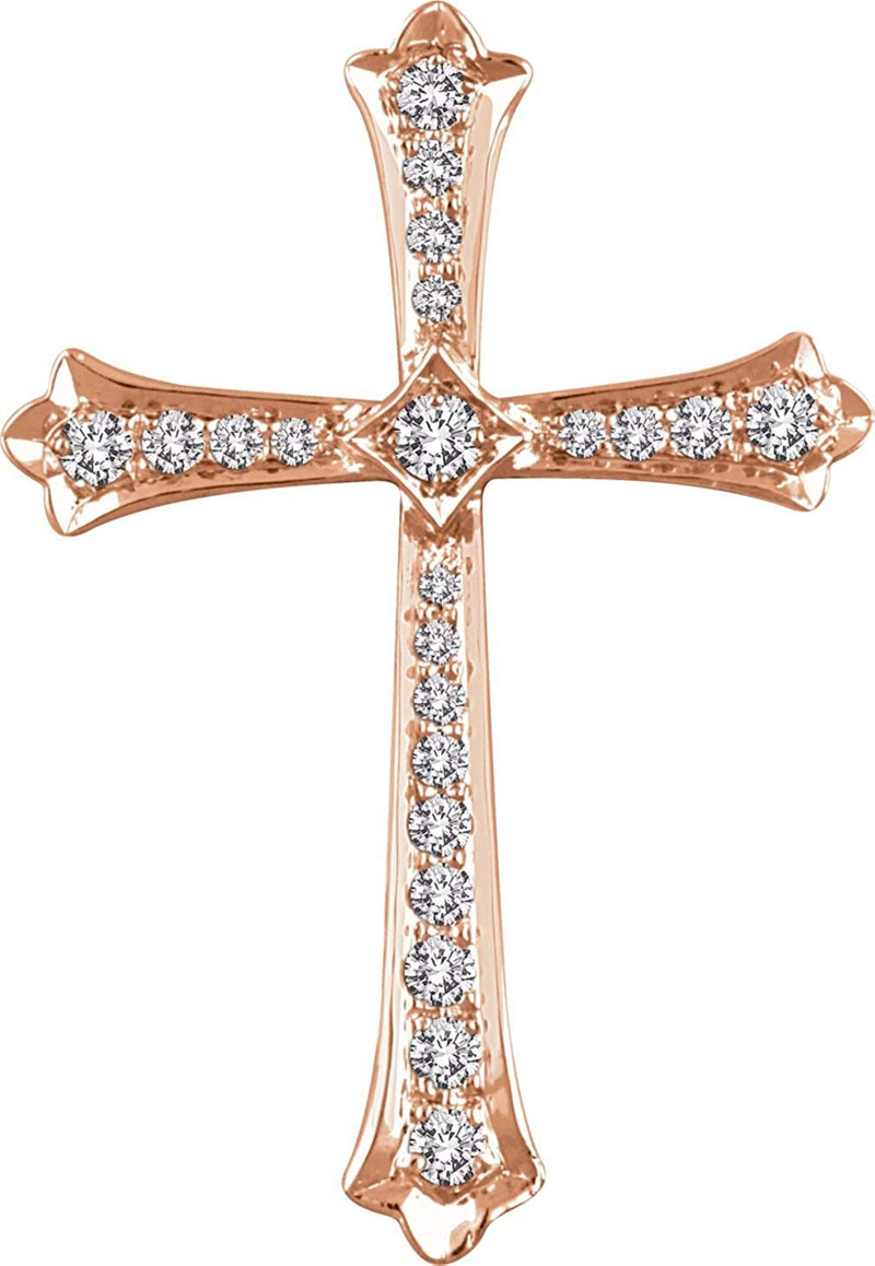 Diamond Fleur-de-Lis Cross 14k Rose Gold Pendant (.25 Ctw, H+ Color, I1 Clarity)