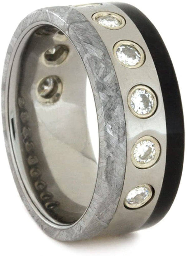 Forever One Moissanite, Gibeon Meteorite, African Blackwood 8mm Comfort-Fit Titanium Band, Size 7.5