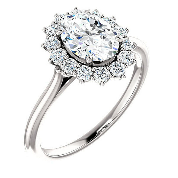 Oval Cubic Zirconia and Diamond Halo 14k White Gold Ring (.35 Cttw, GH Color, SI2-SI3 Clarity), Size 5.75