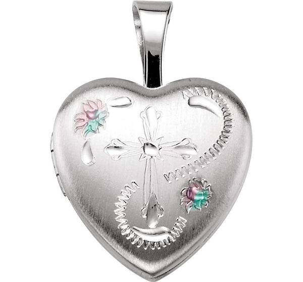 Satin-Brush Heart with Cross and Enameled Flowers Sterling Silver Locket (12.50X12.00 MM)