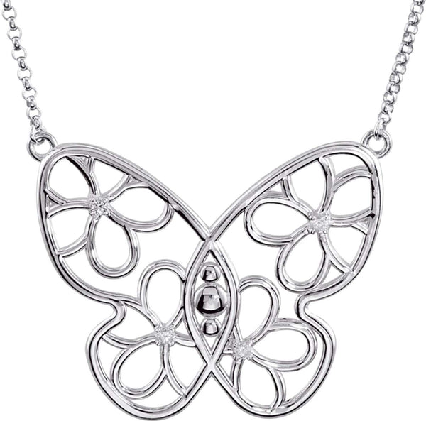 "Diamond Butterfly Sterling Silver Pendant Necklace, 18"" (.08 Cttw)"