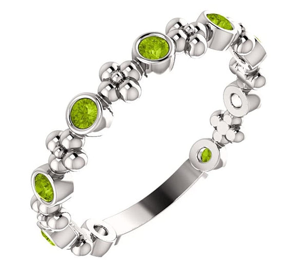 Genuine Peridot Beaded Ring, Rhodium-Plated 14k White Gold, Size 7