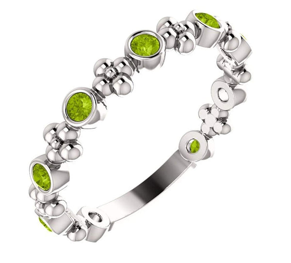 Genuine Peridot Beaded Ring, Rhodium-Plated Sterling Silver