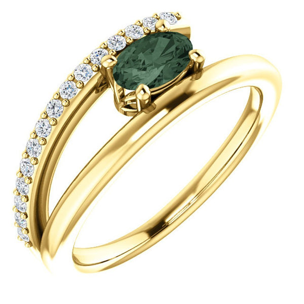 Chatham Created Alexandrite and Diamond Bypass Ring, 14k Yellow Gold (.125 Ctw, G-H Color, I1 Clarity)