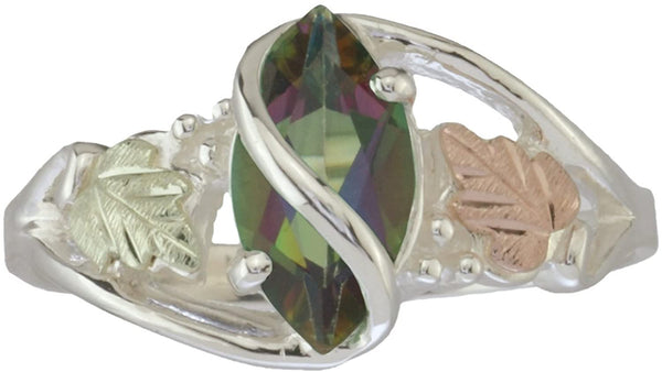 The Men's Jewelry Store (for HER) Mystic Fire Topaz Marquise Wrap Ring, Sterling Silver, 12k Green and Rose Gold Black Hills Gold Motif, Size 5