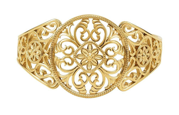 14k Yellow Gold Designer Filigree Cuff Bracelet