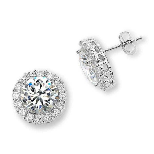 Round CZ Halo Rhodium Plated Sterling Silver Stud Earrings