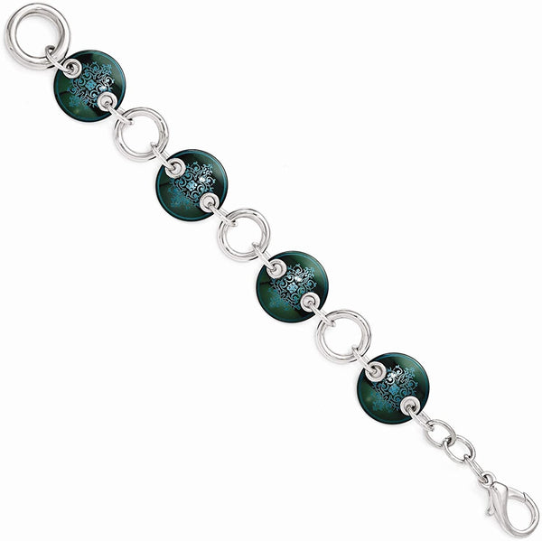 Black Ti, Sterling Silver Anodized Blue-Green 21mm Link Bracelet, 8""