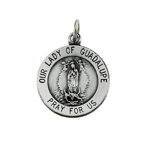 Sterling Silver Round Our Lady of Guadalupe Medal (15 MM)