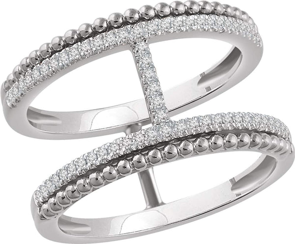 Diamond Negative Space Ring, 14k White Gold, (1/5 Ctw, Color H+, Clarity I1), Size 7