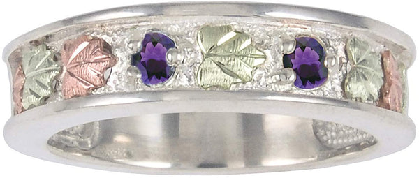 Black Hills Gold Amethyst Sterling Silver, 12k Rose Gold, 12k Green Gold Ring, Size 9.5