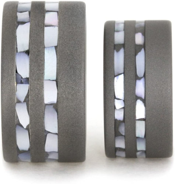 Mother of Pearl Inlay, Sandblasted Comfort-Fit Titanium His and Hers Wedding Band Set, M15.5-F9