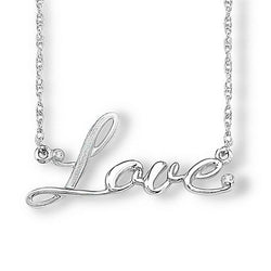 Diamond 'Love' Necklace, Rhodium Plated Sterling Silver, 18""