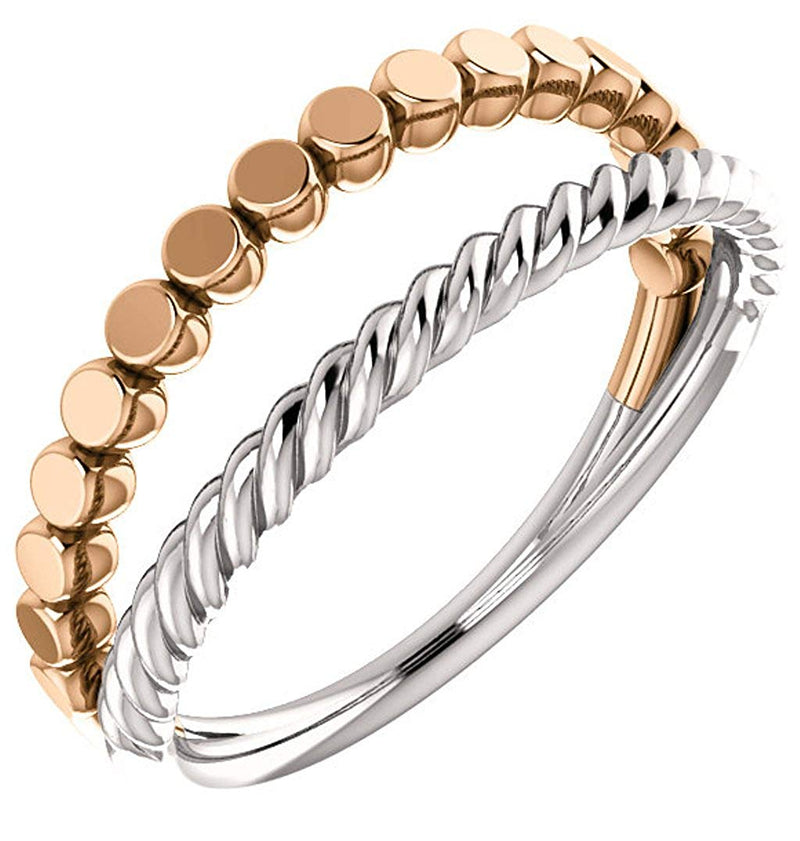 Rope Trim and Flat Granulated Bead Twin Stacking Ring, Rhodium-Plated 14k White and Rose Gold