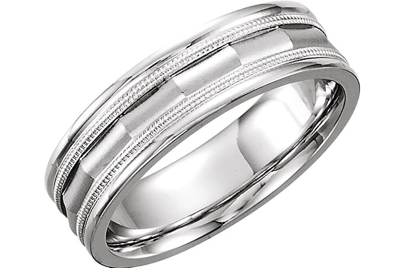 Double Milgrain Design 6mm Comfort Fit 14k White Gold Band