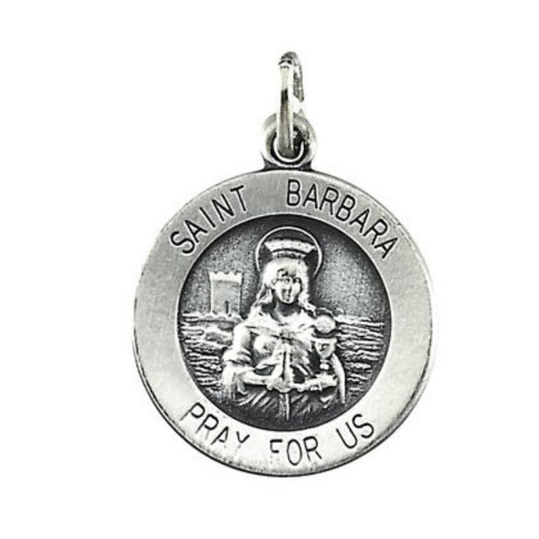 Sterling Silver St. Barbara Medal (18.25 MM)